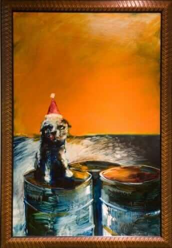 Sad Puppydog Face by Robert Anderson Oil on board