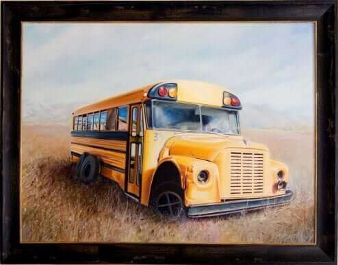 School Bus by Susanne Falk Acrylic on canvas