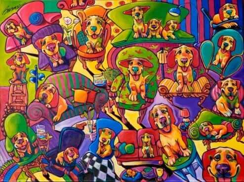Couches, Chairs, and Canines by Ron Burns Acrylic on canvas
